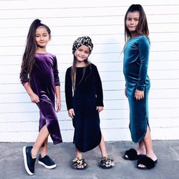 Wholesale Blue Lolita Dress Long Sleeves - Christmas Girls Dress 2018 New pleuche long sleeve Children Dress Spring Autumn open fork Kids long dress chinese style cheongsam C2648