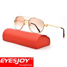 Wholesale Pilot Aviator Glasses - Double Bridge Metal Sunglasses Aviator Shape Frames Brand Designer Sunglasses for Men Fashion Glasses Accessories Mens Gift With Box CT1191