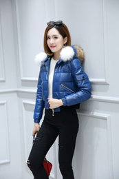 Wholesale Ladies Genuine Fur Jackets - Women Slim Stylish genuine leather down Jacket Coats Lady With real raccoon Fur Hooded Winter short Outerwear