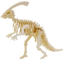 Wholesale Dinosaurs Wood - Wholesale-Educational Toys Wooden Horned Dinosaur Model 3D Puzzle Assembling Miniature