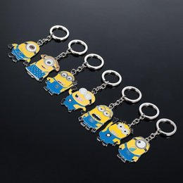 Wholesale Despicable Keychains - Despicable Me Keychains Cartoon Key Chain Despicable Me 3D Eye Small Minions Figures Kids toy Keychain 2015 Hotsale