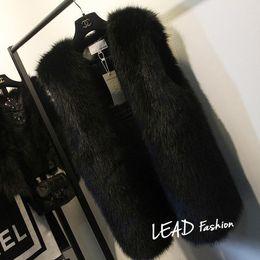 2019 плюс размер черного кролика Wholesale-Plus Size 5XL 6XL White Black Women's Faux Fur Gilet Coat  Mink  Fur Vest Medium-long V-Neck Fur Waistcoats Jacket дешево плюс размер черного кролика