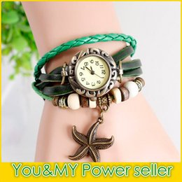 Wholesale Wrist Watches Red Belt - Sea Star Vintage Retro Quartz Wrap Synthetic Leather Bracelet Wristwatches Women's Wrist Watch Africa Designer 7 Colors Christmas Gifts