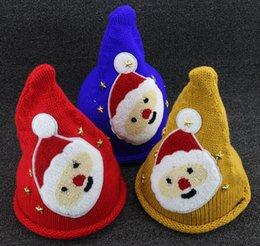 Wholesale Kids Knited Hats - 2015 Kids Christmas Hats Knited Hats Cap For Kids Santa Christmas Adornos Navidad Ornament Natale