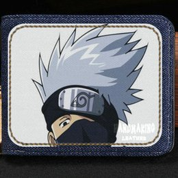 Wholesale Naruto Wallets - Hatake Kakashi wallet Naruto anime purse Ninja cartoon short cash note case Money notecase Leather burse bag Card holders