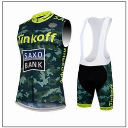 Wholesale Saxo Bank Cycling Jersey Sets - Tinkoff Saxo Bank 2015 Cycling Jerseys Set Green Color Road Bike Jerseys Sleeveless Cycling Top+Padded Bib Shorts Quick Drying Cycling Wear