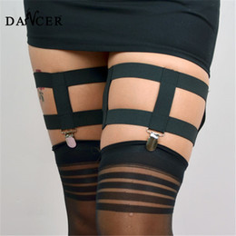 Wholesale Sexy Clips Woman - 2015 garter rivet Women Black sexy lingerie pastel goth cinta liga garter stockings bondage harness sex products garter metal clips
