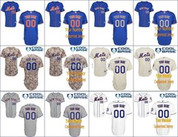 Wholesale Blank Baseball Shirts - Factory Outlet Cheap MLB New York Mets Custom Jersey blank Camo Personalized Customized Your Name Number ny authentic baseball jerseys shirt