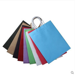 Wholesale Clothes Bags Cheap Wholesale - 10pcs Lot Free Shipping Cheap Paper Bags Packaging Bag,Custom Solid Color Printed Clothing Bag Gift Bags Hot Sale With String