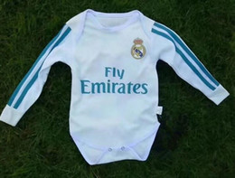 Wholesale Fans Clothing - Real Madrid Baby Climb soccer Jersey Cotton long Sleeves Jumpsuit 2017 2018 New Baby Triangle Clothes Loveclily 2017 18 baby's fans shirt