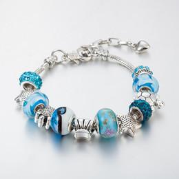 Wholesale Wholesale Turtle Shells - Ocean Series Blue Crystal Glass Bead Beach Bracelet - Starfish Shell Sea Turtles Bracelets For Women Girls Souvenir