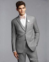 Wholesale Tie Online Cheap - Light Gray Tuxedos For Men Handsome Mens Wedding Tuxedo Custom Made Cheap Designer Mens Suits Online (Jacket+Pants+Vest+Bow Tie)