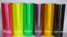 Wholesale tint rolls wholesale - 12 Rolls   lot Headlight tint film rear car lights tinting Tail lights tint size 0.3x10m Roll with 12 colors available