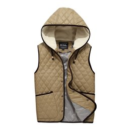 Wholesale Youth Pads - Fall-Free Shipping! New Men Vest Padded Winter Mens' Casual Gilets Boys Thin Outwear Size 2XL Quilted Body Warmer Youth Solid PU Coat