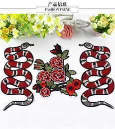 Wholesale Large Snake - New embroidery animal snake DIY clothes patch cloth paste clothing accessories large suite accessories embroidery stickers subsidies
