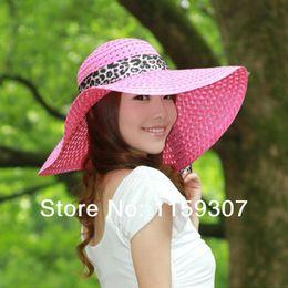 Wholesale Big Sun Hats For Women - Wholesale-2015 New Fashion Summer Hats for Women Wide Brim Hats Beach Sun Hats Big Brim Hats