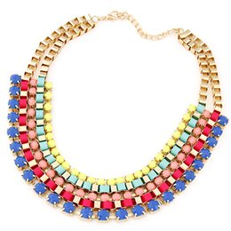 Wholesale Metal Chain Suit - New 2015 Fashion Jewelry Major Suit Gradient Color Metal Short Necklace Exaggerated Temperament Collar Necklace