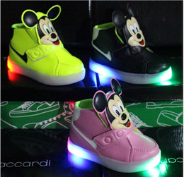 Wholesale Cartoon Boy Girl Hard - 2016 Fashion Boys Girls Sneakers Kids Led Lighting Shoes Child Casual Athletic Shoes Baby Luminous Flat Sneake Cartoon Mickey Mouse Sneakers