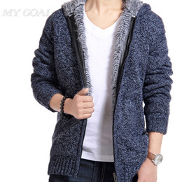 Wholesale Men Winter Sweater Fur - Fall-HOT SALE winter size thick velvet cotton hooded fur jacket men winter padded knitted casual sweater Cardigan coat