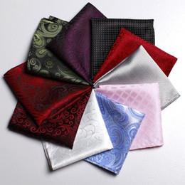 Wholesale Pocket Handkerchiefs - New Fashion Multi Color Handkerchief for Men Suit Polyester Pattern Lattice and Dot Men Fashion Pocket Square Tie Handkerchief