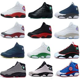 Wholesale Famous Fabrics - Wholesale Famous Trainers 13 XIII air retro 13 Hologram Mens womens Sports Basketball Shoes Barons (white black grey teal)