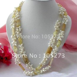 Wholesale Beautiful Pearl Jewellery Necklaces - Wholesale-48'inchs White Color Rice Shaper Freshwater Pearl Natural Jade Citrine Necklace 5-20MM Beautiful Style Women's Jewellery