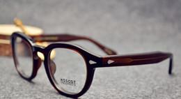 Wholesale Vintage Sunglasses Depp - esigner Retro Men sunglasses Vintage frames Johnny Depp Eyeglasses coffee frame Free Shipping
