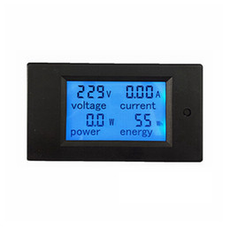 Wholesale Ac Digital Volt Meter Blue - 1pcs New LCD AC 80-260V 20A Voltmeter Ammeter Volt Ampere Power Energy Meter Gauge With Blue Backlight Data Storage Function