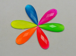 Wholesale Neon Color Acrylic - 100 Mixed Neon Color Flatback Acrylic Teardrop Rhinestone Gems 8X22mm No Hole