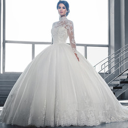 Wholesale Ball Gown Wedding Dress - High Collar Sheer Long Sleeves Lace Ball Gown Wedding Dresses 2016 Vintage Applique Lace Tulle Bridal Gowns Vestidos De Noiva Custom Made