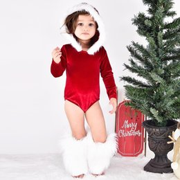 a8fc09c6d8d8 Red Pink Ins Baby Girls Boys Christmas Soft Velvet Rompers fur Hooded  Infant Newborn Long Sleeve Onesies Children Jumpsuits Kids Clothing