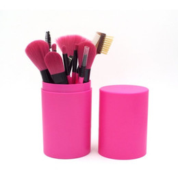 Wholesale hair color kits - 12PCS Professional Makeup Brush Sets 7 color handle Eyeliner Blending Pencil Makeup Brushes With Round Plastic Cup Box