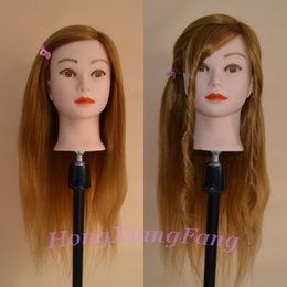 Wholesale Free Hair Cosmetology Mannequins - Free Shipping Mannequin Dummy Manequin Cosmetology Mannequin Heads 80% Blonde Human Hair Training Mannequin Head With Human Hair