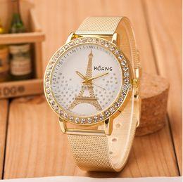 reloj paris eiffel Rebajas Chapado en oro Paris Eiffel Tower Watch 2016 Nuevo diseño de las mujeres de malla de acero inoxidable CZ Stone Watch Estilo de la moda al por mayor Descuento reloj