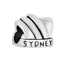 Wholesale Sydney Charms - Fashion women jewelry metal loose charms Sydney opera house European spacer bead charm fits Pandora bracelet