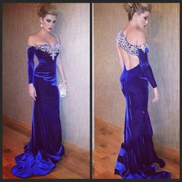 Wholesale One Shoulder Gold Rhinestone - 2015 New Fashion Mermaid One Shoulder Royal Blue Prom Dresses Velvet Beaded Luxury Crystal Dress Long Rhinestone Evening Gown
