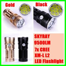 Wholesale 7x Cree Flashlight - New SKYRAY 9500LM 7x CREE XM-L L2 LED Flashlight Torch 4x18650 Light Lamp Free Shipping