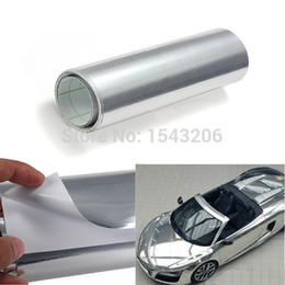 Wholesale vinyl car silver - 152cm x 15 cm Car Auto Mirror Chrome Silver Sheet Wrap Tint Vinyl Film Sheet Sticker Decals order<$18no track