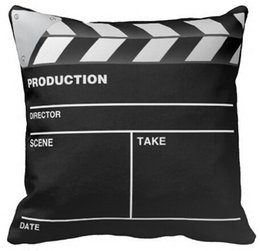 Wholesale Funny Pillowcases - Wholesale- Pillow Case High Quality Funny Movie Maker Clap Board Square Zippered Throw Pillows Pillowcase Nice Pillow Protector Twin Sides