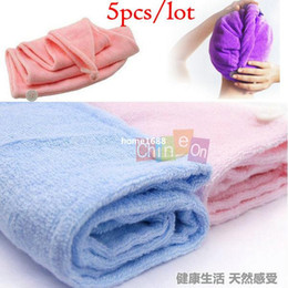 Wholesale Hair Drying Towel Cap - Microfiber Magic Hair Dry Drying Turban Wrap Towel Hat Cap Quick Dry Dryer Bath 5pcs lot Free Shipping