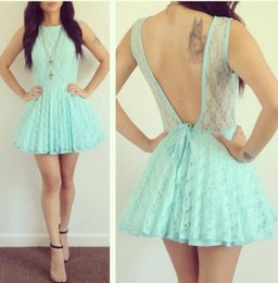 Wholesale Girls Night Gowns - Light Lime Cocktail Dresses V-backless Sleeveless Girl Party Prom Gowns Short Lace 8th Graduation Homecoming Gowns Vestido Night Gown shjh