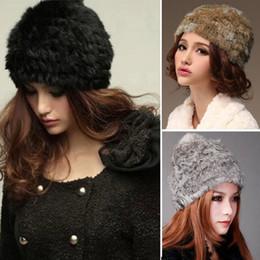 Wholesale Russian Cossack Hat Black - Wholesale-Fluffy Women Russian Cossack Rabbit Fur Knitted Hat Head Ski Cap Winter Autumn Warm Cute Knit Fur Hat Cap Headgear Headdress