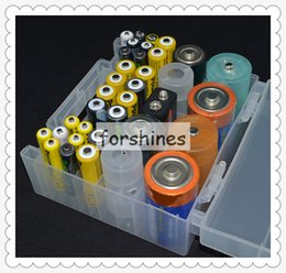 Wholesale Aa Cell Holder - 5pcs free shipping,cheap Hard Plastic Clear Batteries Case Holder Storage Box Portable 18650 26650 AA AAA 9V Battery button cell Container