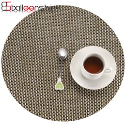 Wholesale Solid Round Table - Wholesale- BalleenShiny Modern PVC Woven Placemat Round Solid Non Slip Insulation Coaster Large Dinner Mat Set Coffee Table Pad&Mats