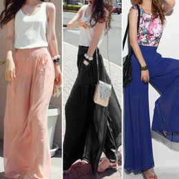Wholesale Ladies Loose Long Pant - New Lady Wide Leg Chiffon High Waist Pants Long Loose Culottes Trousers Dave