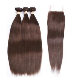2019 cheveux brun marron # 4 brun moyen couleur droite vierges faisceaux de cheveux avec fermeture en dentelle marron brun péruvien tissages de cheveux humains avec 4 * 4 top dentelle fermeture cheveux brun marron pas cher
