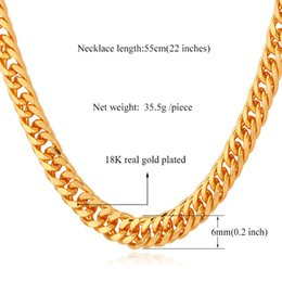 """Wholesale Real Hip Hop Gold Chains - Wholesale-Gold Chain Necklace Men 18K Stamp 18K Real Gold Plated 6MM 55CM 22"""" Necklaces Classic Curb Cuban Chain Hip Hop Men Jewelry"""