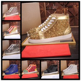 Wholesale Sewing Pearl Buttons - 2017 High Top Studded Spikes Casual Flats Red Bottom Luxury Shoes New For Men and Women Party Designer Sneakers Lovers Genuine Leather rivet