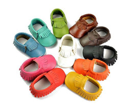 Wholesale Head Winter Shoes - wholesale baby moccasins soft leather moccs baby booties toddler shoes 100% Head layer cow leather first walker baby shoes 50pairs lot