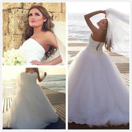 red white halter top wedding dresses 2019 - Sexy Arabic Strapless Beaded  Tulle Wedding Dresses Ball c8983fc94